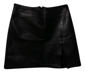 OASIS UK Leather Mini Skirt Black Leather