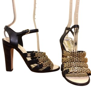 Chanel black gold Sandals