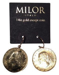 Milor MILOR ITALY 14 KT GOLD EXCEPT ITALIAN 20 LIRE EARRINGS NEW