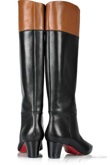 Christian Louboutin Cavaliere Two Tone Black/Brown Boots Image 7