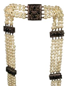 Chanel Sultana Pearls Black Stone Camellia CC 4 Strand Necklace Belt