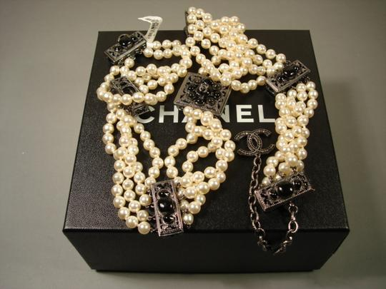 Chanel Sultana Pearls Black Stone Camellia CC 4 Strand Necklace Belt Image 1
