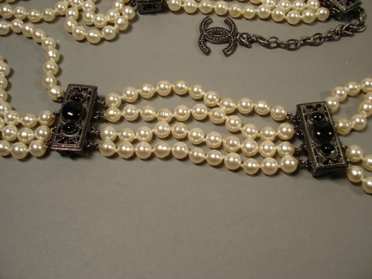Chanel Sultana Pearls Black Stone Camellia CC 4 Strand Necklace Belt Image 2