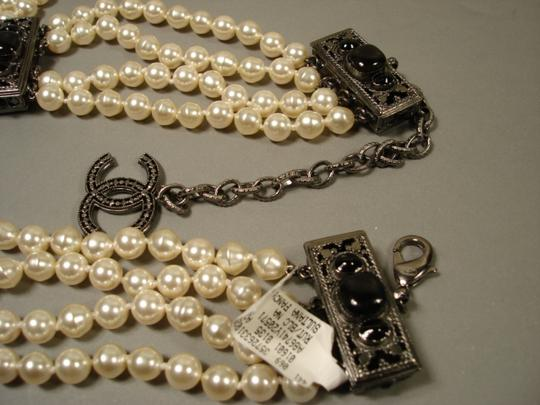 Chanel Sultana Pearls Black Stone Camellia CC 4 Strand Necklace Belt Image 4