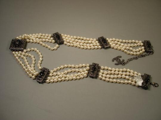 Chanel Sultana Pearls Black Stone Camellia CC 4 Strand Necklace Belt Image 7