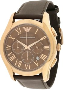 Emporio Armani Emporio Armani Rose Gold-Tone Leather Chronograph Mens Watch AR1701