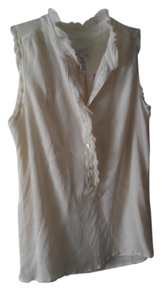 d0f0f3a2920f93 J.Crew White Ivory Silk with Ruffle Detail Blouse Size 4 (S) - Tradesy