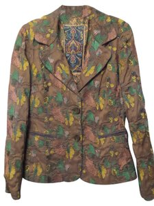 Biya Johnny Was Embroidered Silk Jacket Medium Taupe Blazer