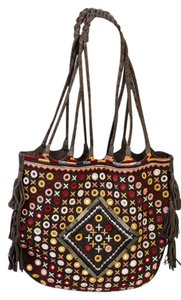 Free People Leather Embroidered Shoulder Bag