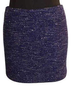 Alice + Olivia Mini Skirt Blue White Multi Metallic