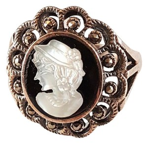 Other Vintage Sterling Silver Marcasite Onyx Mother of Pearl Cameo Ring 9.5