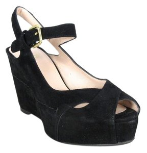 Stuart Weitzman Suede New Platform Black Wedges