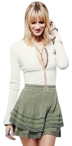Free People Tortoise Pleated Tiered Pintucked Skirt TORTOISE GREEN