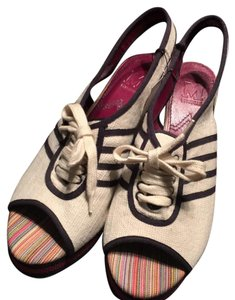 Missoni creme, navy & pink Wedges
