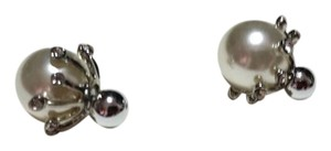 Other New Silver Tone Faux Pearl Double Sided Stud Earrings J3141
