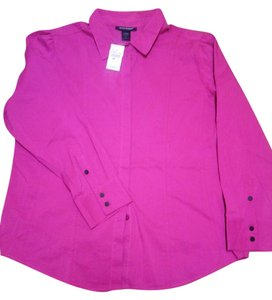 Ashley Stewart Multi-seam Fuchsia Button Front Longsleeve Polyester Button Down Shirt Fuchsia/Pink
