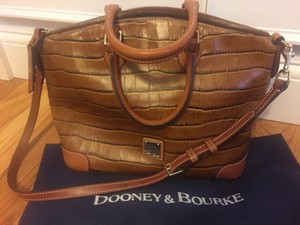 Dooney & Bourke Embossed Leather Crocodile Sophisticated Wallet Included Red Interior Satchel in Cognac