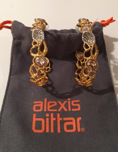 Alexis Bittar Alexis Bittar goldtone and swarovski crystals large hoop earrings