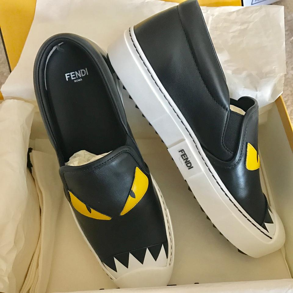 bf99480ac7c346 Fendi Black Monster Bug Eyes Slip-on Sneakers Multiple Sneakers Size ...