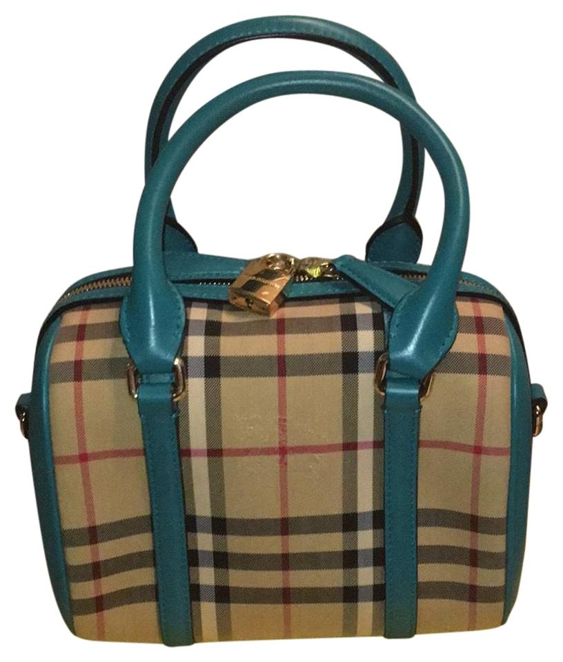 95420e009dea Burberry Alchester Honey Aqua Green Genuine Leather with Plaid ...