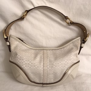 Coach Leather Canvas Pures Hobo Bag