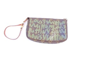 Louis Vuitton Leather Monogram Gold Hardware Tan/ Green Clutch