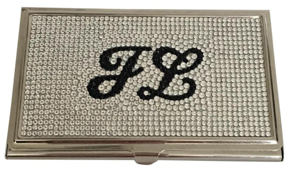 Judith leiber rhine monogram jl crystal business card holder in with judith leiber monogram jl crystal business card holder in rhine with jet letters colourmoves