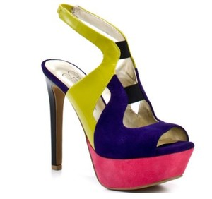 Jessica Simpson Color-blocking Patent Leather Suede Platform Stiletto MULTI Sandals