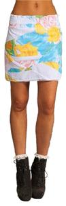 Revolve White Mini Cotton Mini Skirt White, Blue, Yellow