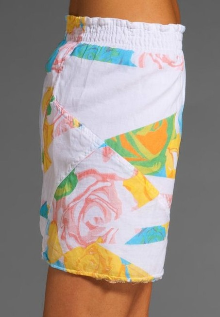 Revolve Mini Turquoise Floral Mini Skirt White, Blue, Yellow