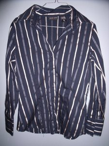 New York & Company Stripes Career Stretch Button Down Shirt Navy Blue, Gold
