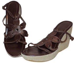Banana Republic Wedge Leather Strappy Classic Brown Platforms