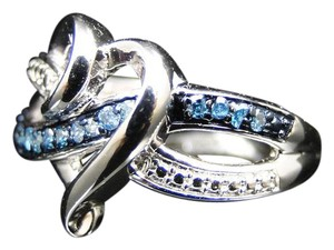 Other Ladies White Gold Finish Pave Heart Blue Diamond Engagement Ring