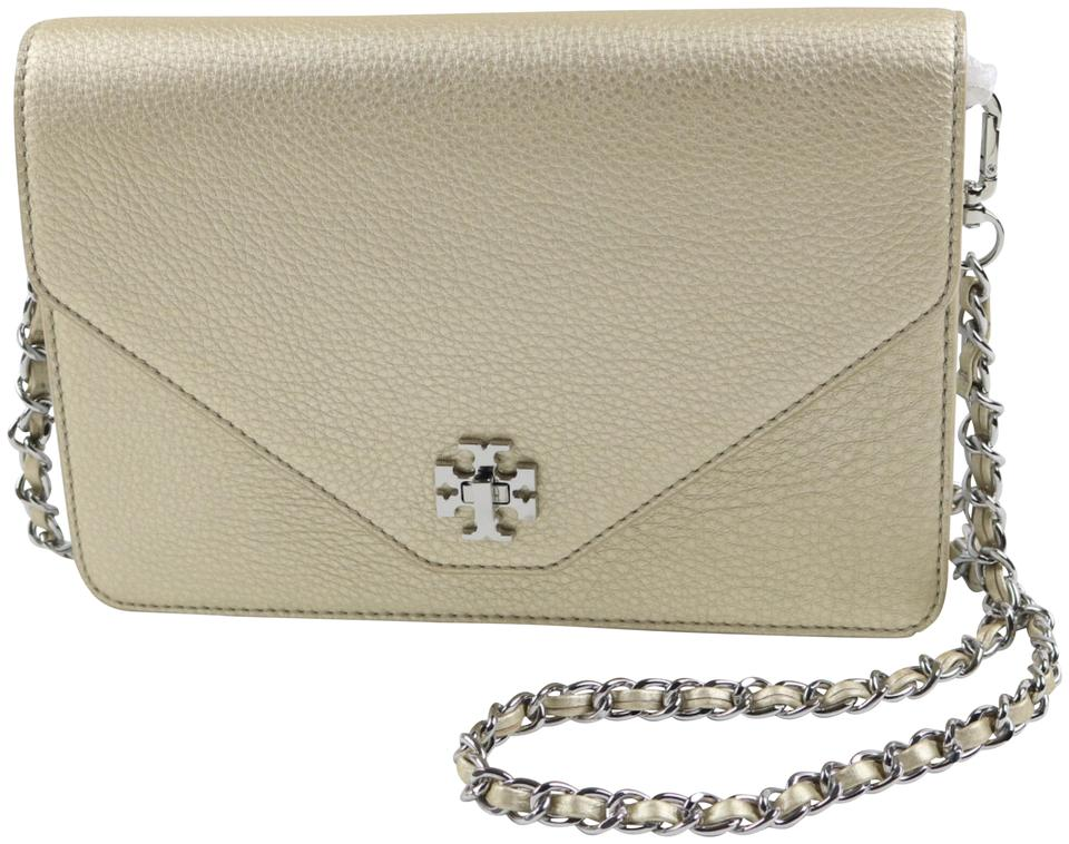 cc66552cbb1 Tory Burch Kira Metallic Clutch Gold Silver Pebbled Leather Cross Body Bag