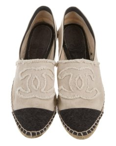 Chanel Espadrille Embroidered Fringe Hem Interlocking Cc Round Toe Beige, Black Flats