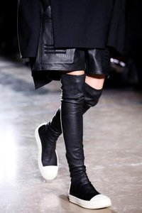 Rick Owens Black Leather Thigh High Boots