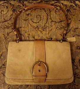 Coach Vintage Suede Leather Satchel in Tan & Brown