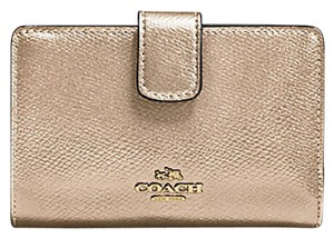 Coach Platinum Gold Leather Bifold Medium Wallet With Gift Box