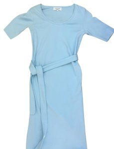 Madeline Light blue fitted maternity dress with belt