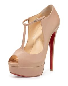 Christian Louboutin Nude Leather T-Strap Pumps