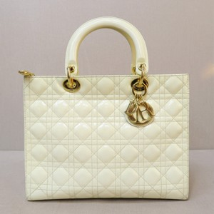 Dior Large Lady Leather Tote in beige