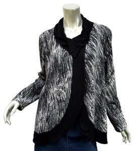 Three Dots Lagenlook Swing Artsy Abstract Layering Black and White Jacket