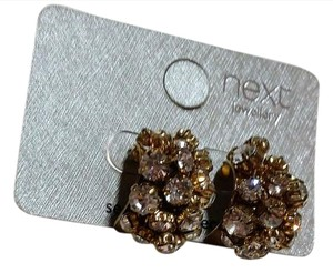 Next Era New Next Crystal Cluster Chunky Stud Earrings Gold Tone J3144