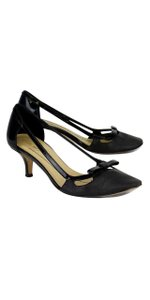 Kate Spade Donna Black Metallic Patent Leathet Bow Heels Pumps