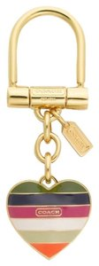 Coach Coach Legacy Striped Multicolor Heart Keyfob Keychain
