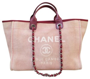 Chanel Large Deauville Tote Satchel in lightpink