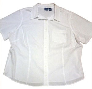 Basic Editions Plus-size Cotton Casual Short Sleeve Button Down Shirt White