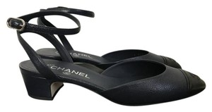 Chanel Leather Pointed Toe Ankle Strap Logo Navy Pumps