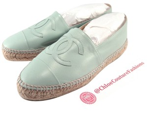 Chanel Espadrilles Mint Double Sole 39 green Flats