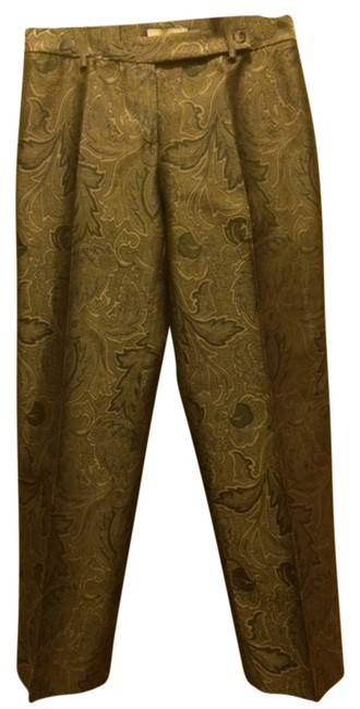 Michael Kors Camel Gold White Cream Sweater Silk Polyester Dry Clean Only Loden Olive Fall Transitional Wide Leg High Waist Front Trouser Pants camel/loden/gold